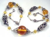 1930's Art Deco Necklace with Elaborate  Chromed Chain Work and Amber Glass Marble Beads (SOLD)